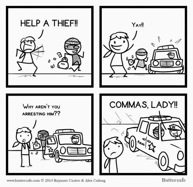 commas, lady